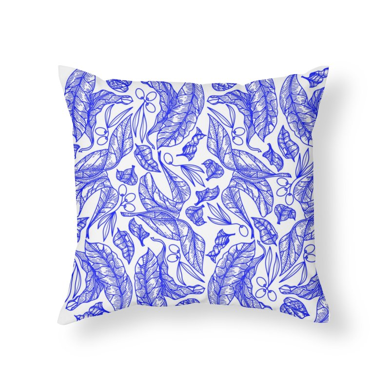 Blue Olive Leaves and Fruits Home Throw Pillow by libedlulo