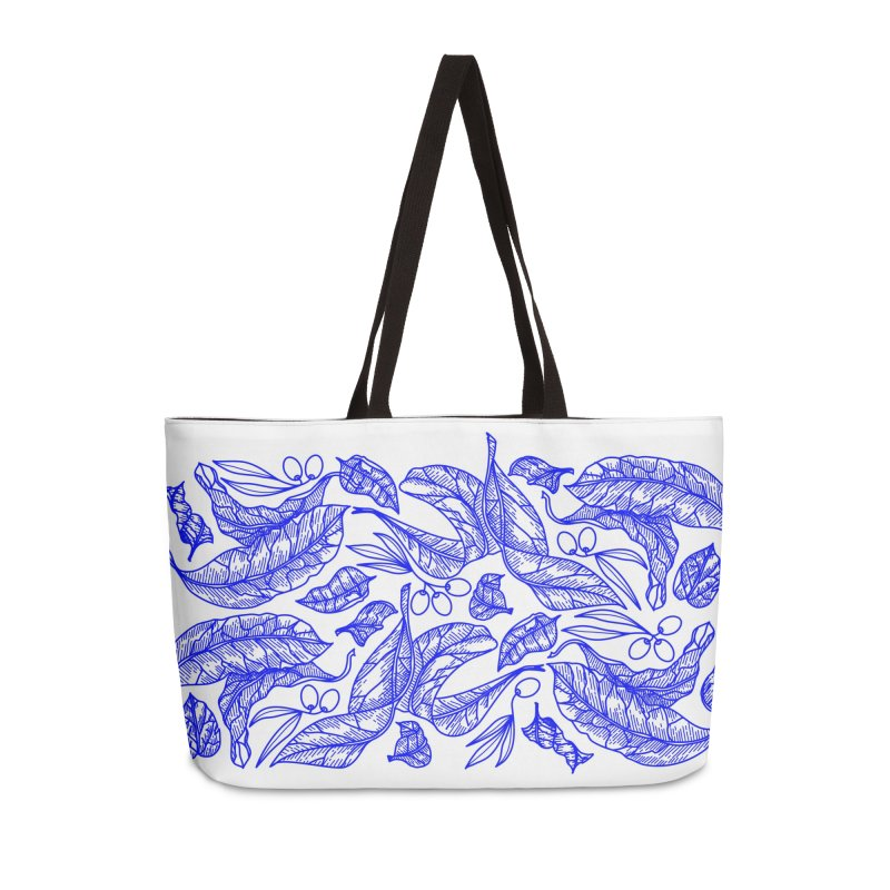 Blue Olive Leaves and Fruits Accessories Bag by libedlulo