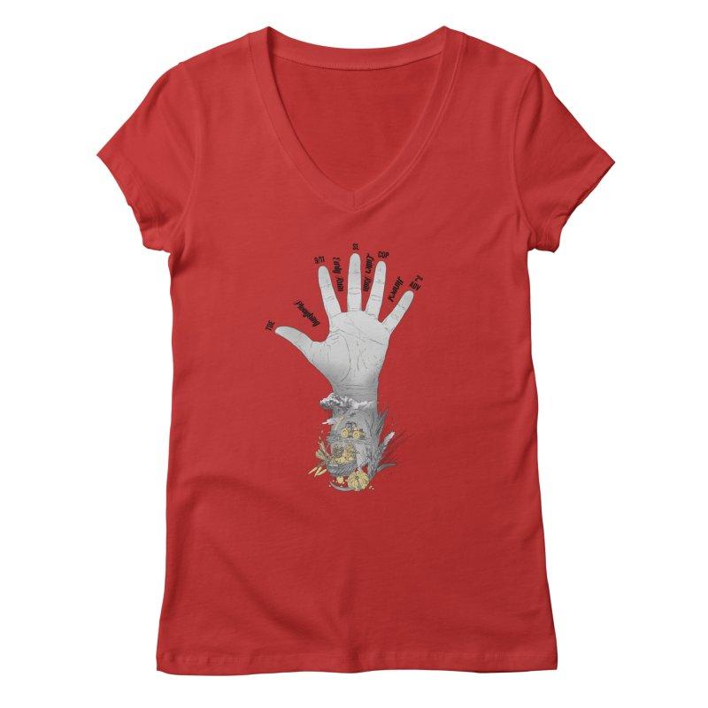 The Hand (grey) Women's V-Neck by librito's Artist Shop