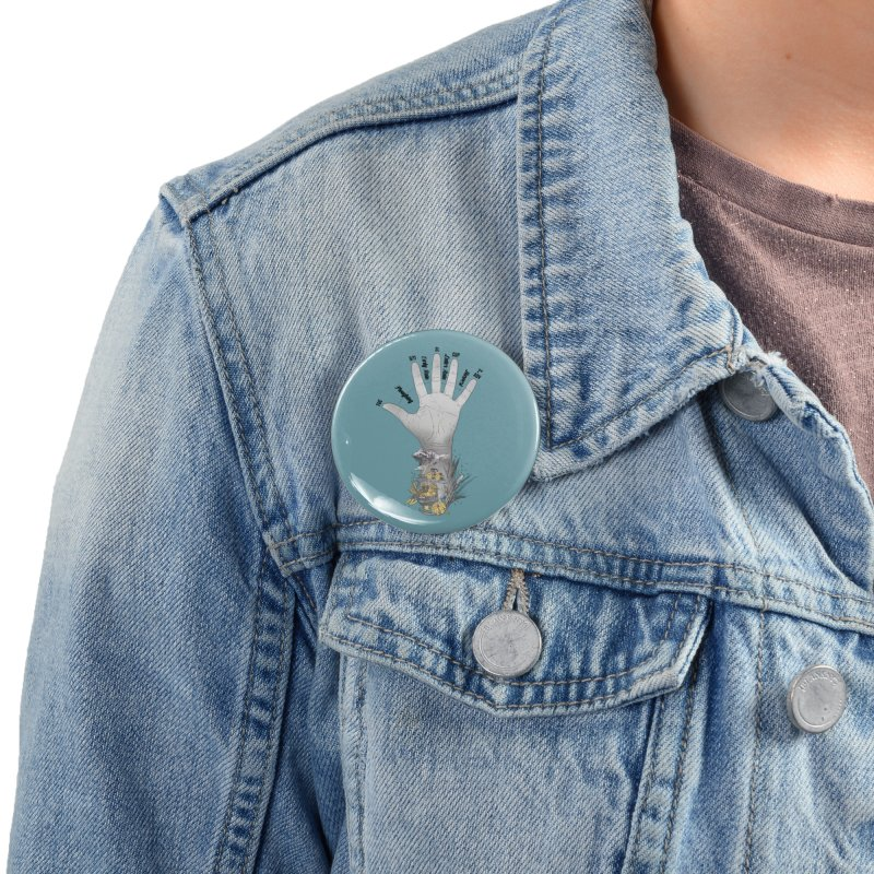 The Hand (grey) Accessories Button by librito's Artist Shop