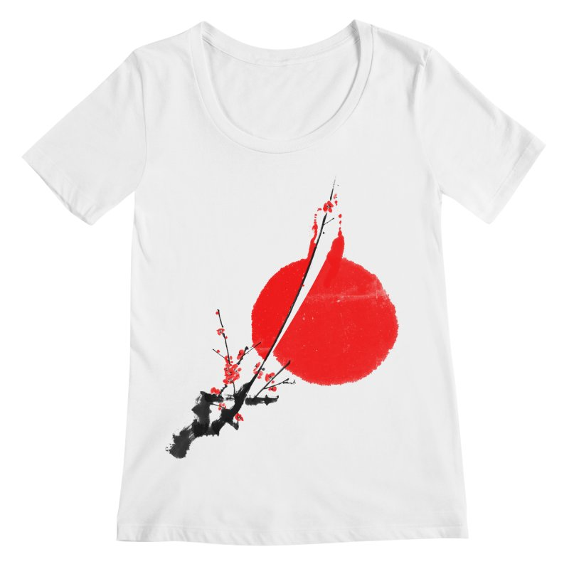 A Twig of Ume Blossoms Women's Scoopneck by lifedriver's Artist Shop