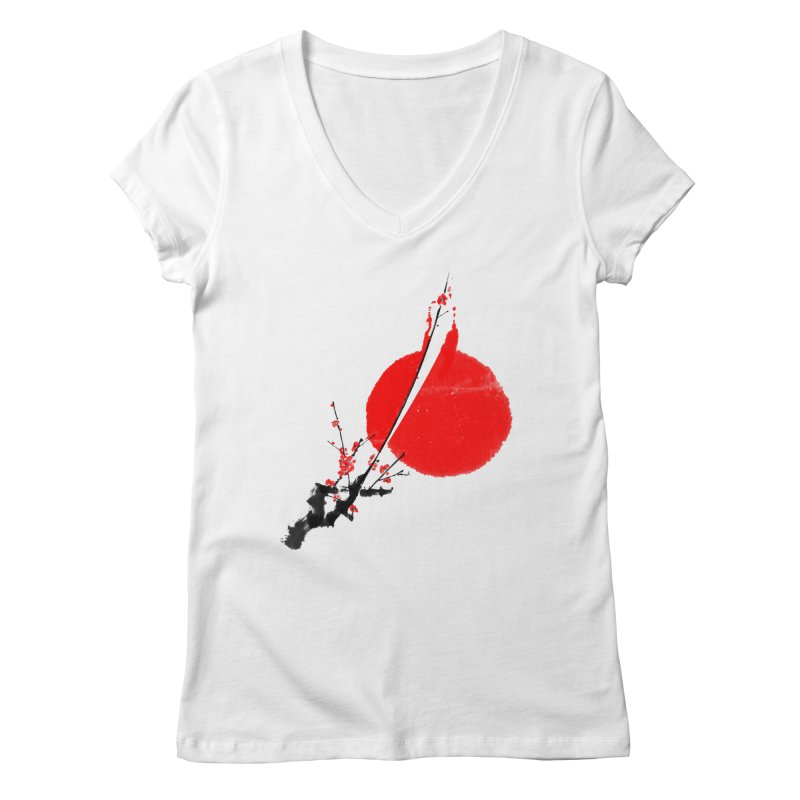 A Twig of Ume Blossoms Women's Regular V-Neck by lifedriver's Artist Shop