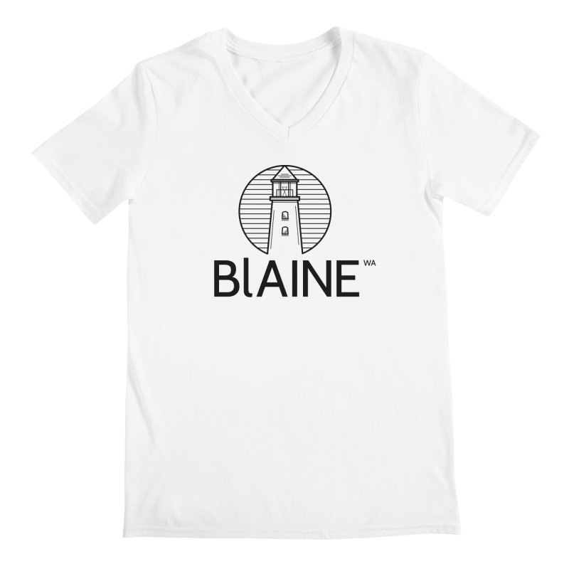 Blaine Lighthouse Black Men's V-Neck by Life Lurking's Artist Shop