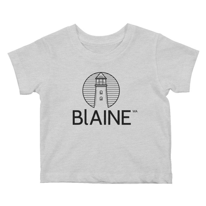 Blaine Lighthouse Black Kids Baby T-Shirt by Life Lurking's Artist Shop
