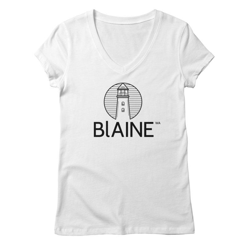 Blaine Lighthouse Black Women's V-Neck by Life Lurking's Artist Shop