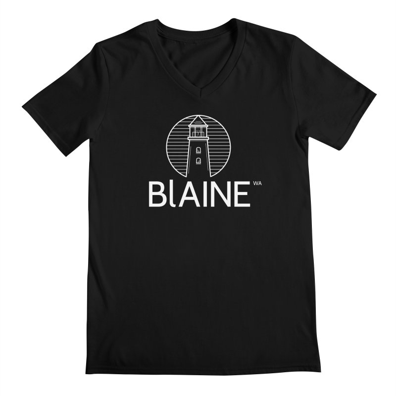 Blaine Lighthouse White Men's V-Neck by Life Lurking's Artist Shop