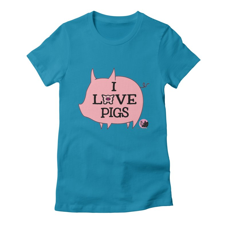 I Love Pigs Women's Fitted T-Shirt by lifewithpigs's Artist Shop