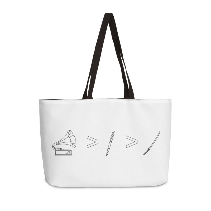 Greater Than Accessories Weekender Bag Bag by lightclub's Artist Shop