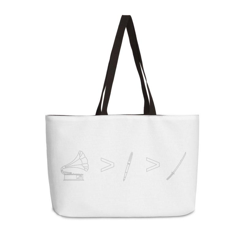 Greater Than. Light. Accessories Weekender Bag Bag by lightclub's Artist Shop