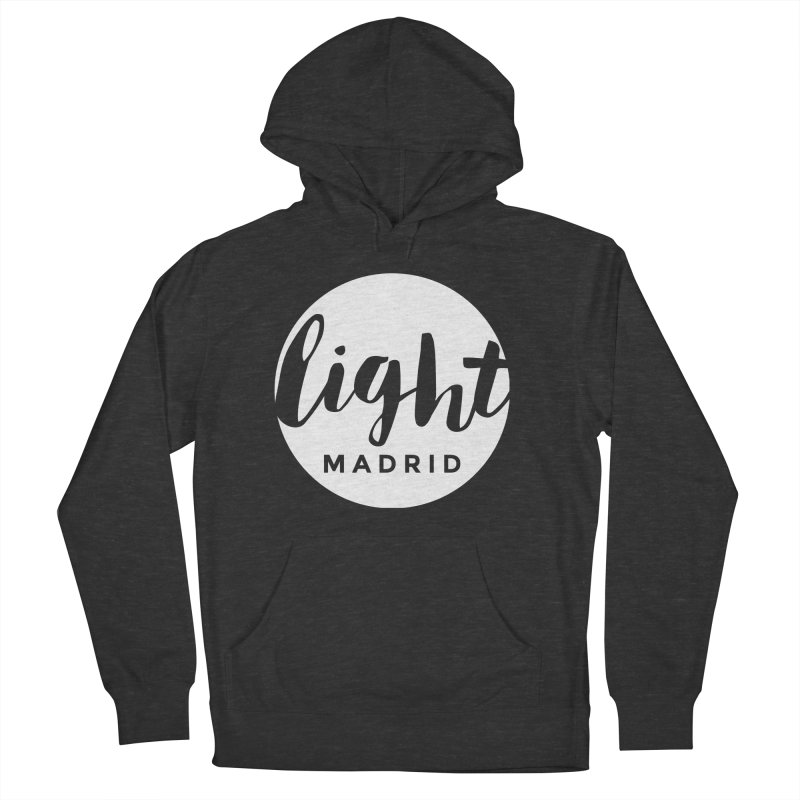 White Logo Men's French Terry Pullover Hoody by Light Madrid Gear
