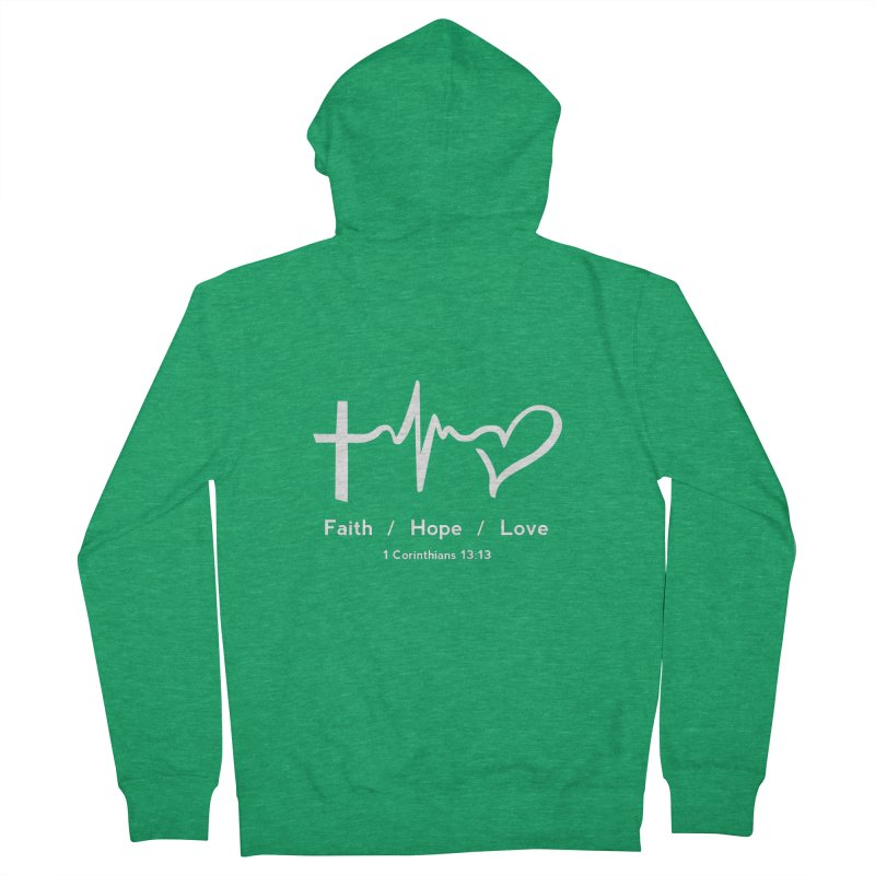 Faith, Hope, Love - White Women's Zip-Up Hoody by Light of the World Tees