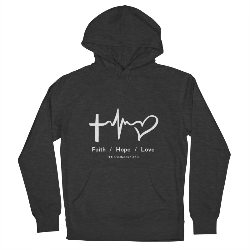 Faith, Hope, Love - White Men's French Terry Pullover Hoody by Light of the World Tees
