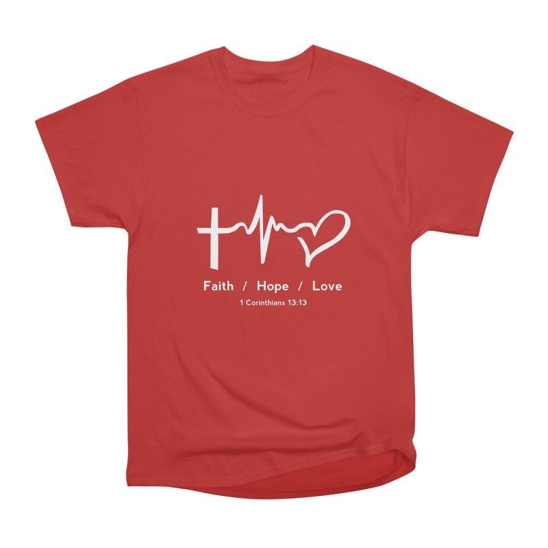 Faith, Hope, Love - White Men's Heavyweight T-Shirt by Light of the World Tees