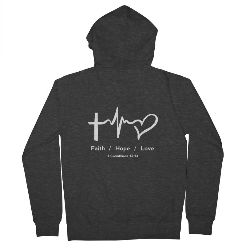Faith, Hope, Love - White Women's French Terry Zip-Up Hoody by Light of the World Tees