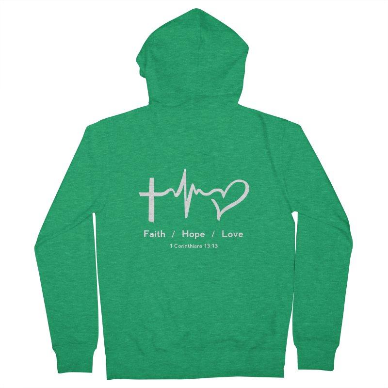 Faith, Hope, Love - White Men's Zip-Up Hoody by Light of the World Tees