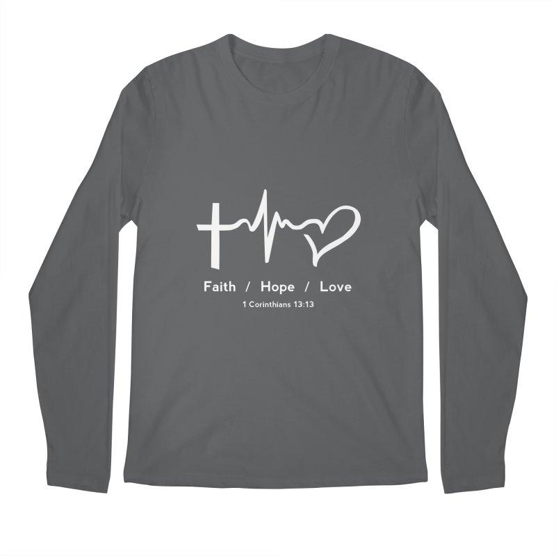 Faith, Hope, Love - White Men's Regular Longsleeve T-Shirt by Light of the World Tees