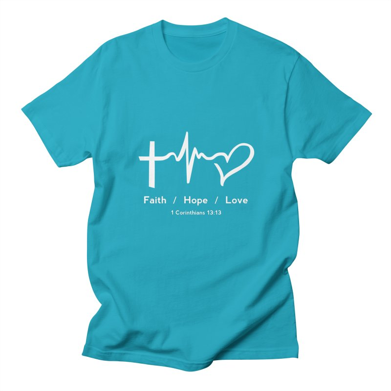 Faith, Hope, Love - White Men's Regular T-Shirt by Light of the World Tees