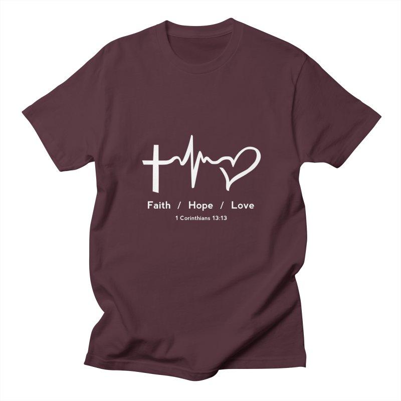 Faith, Hope, Love - White Women's Regular Unisex T-Shirt by Light of the World Tees