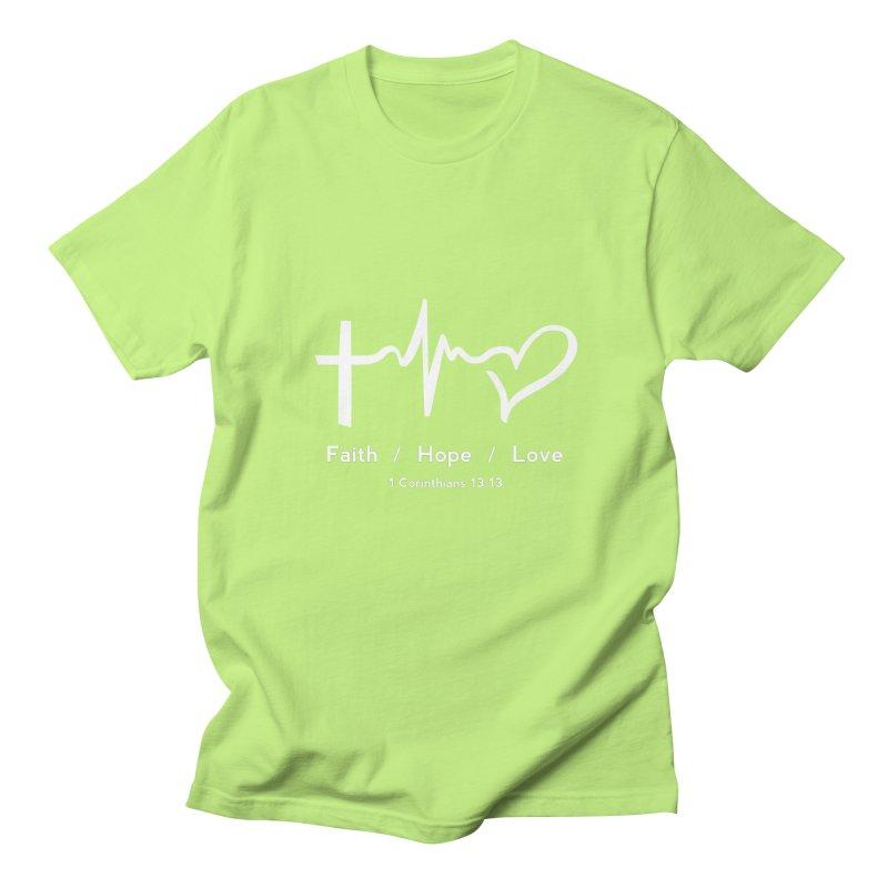 Faith, Hope, Love - White Men's Regular T-Shirt by Light of the World Tees