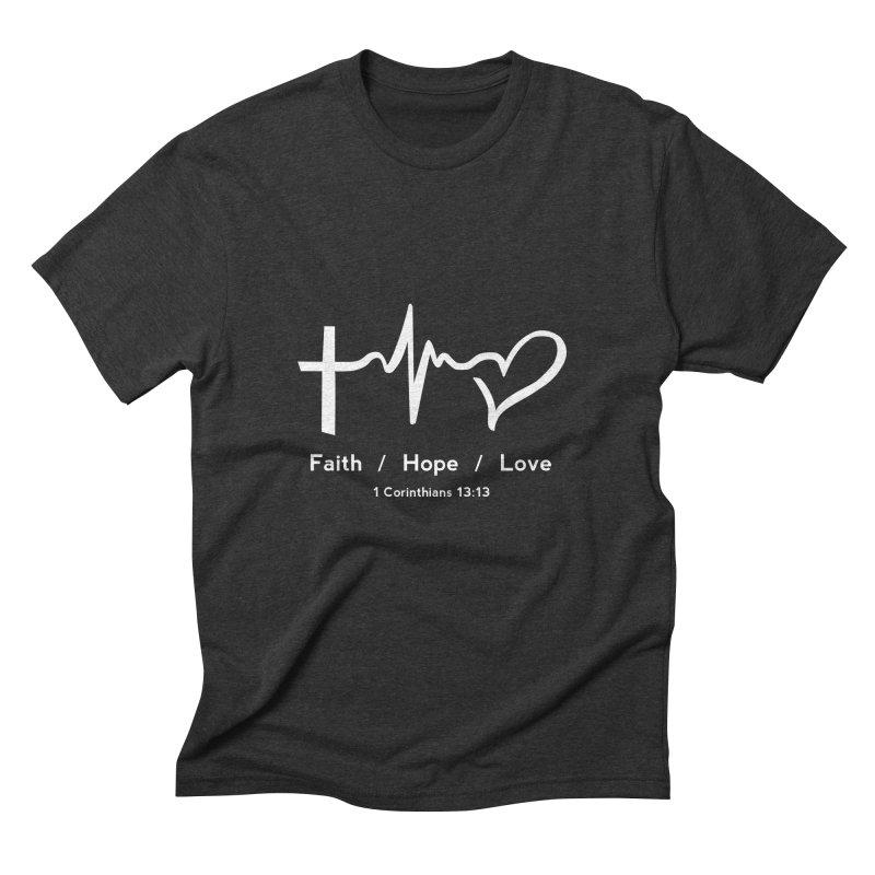 Faith, Hope, Love - White Men's Triblend T-Shirt by Light of the World Tees