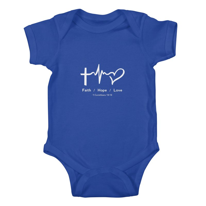 Faith, Hope, Love - White Kids Baby Bodysuit by Light of the World Tees
