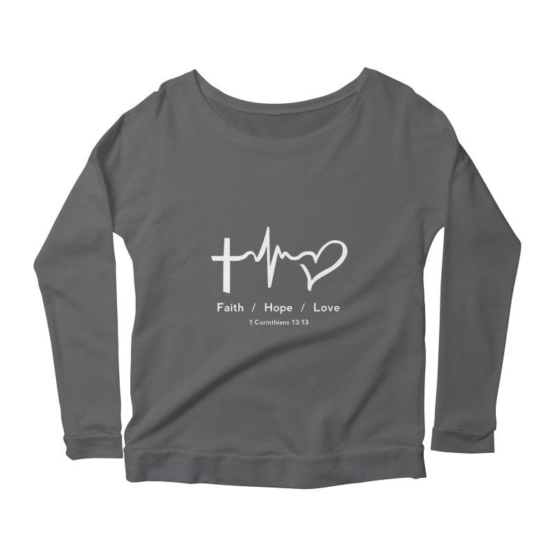 Faith, Hope, Love - White Women's Longsleeve T-Shirt by Light of the World Tees