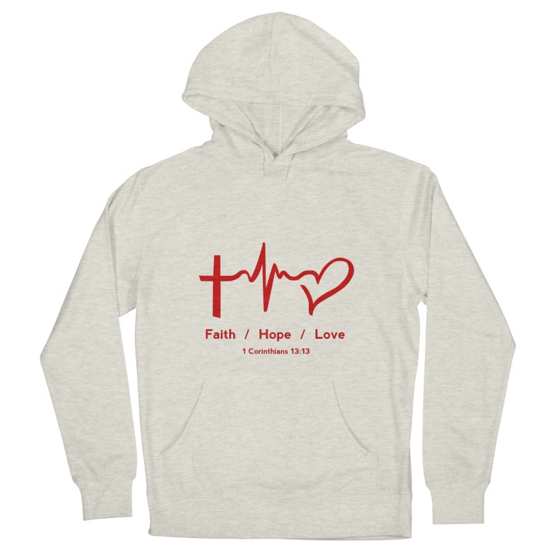 Faith, Hope, Love - Red Men's Pullover Hoody by Light of the World Tees