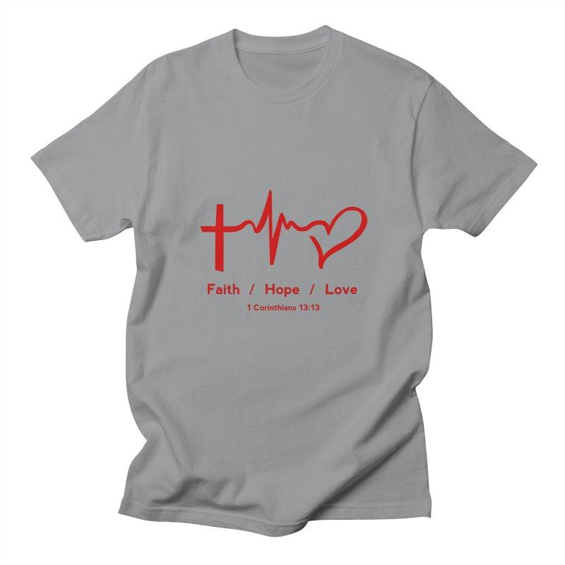 Faith, Hope, Love - Red Men's Regular T-Shirt by Light of the World Tees