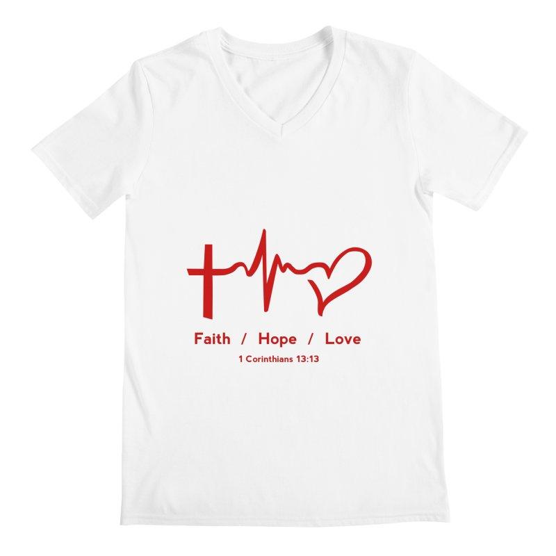 Faith, Hope, Love - Red Men's V-Neck by Light of the World Tees