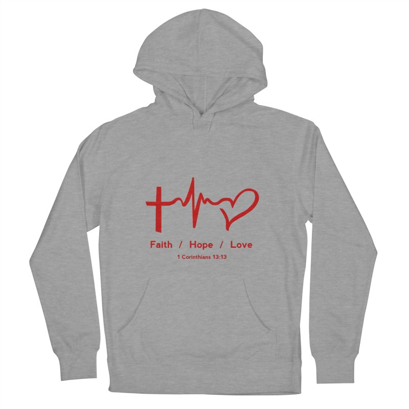 Faith, Hope, Love - Red Men's French Terry Pullover Hoody by Light of the World Tees