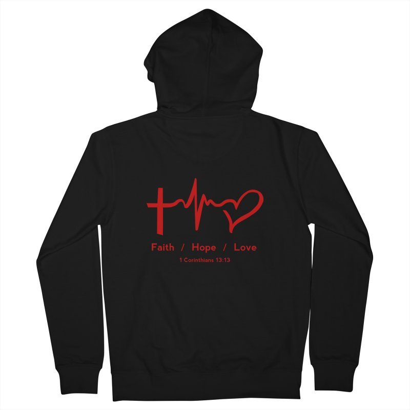 Faith, Hope, Love - Red Men's French Terry Zip-Up Hoody by Light of the World Tees