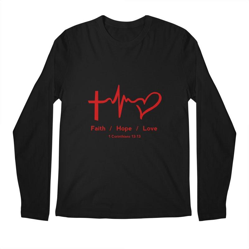 Faith, Hope, Love - Red Men's Longsleeve T-Shirt by Light of the World Tees