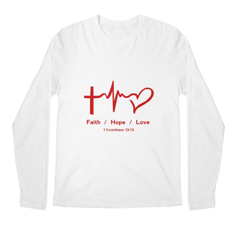 Faith, Hope, Love - Red Men's Regular Longsleeve T-Shirt by Light of the World Tees