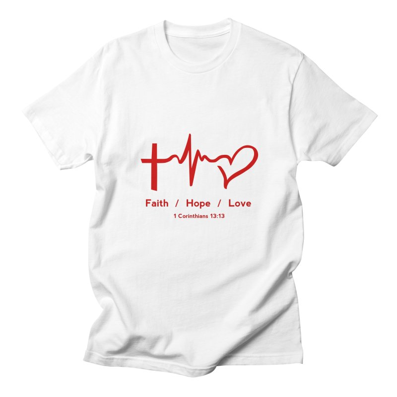 Faith, Hope, Love - Red Men's Regular T-Shirt by Light of the World Tees
