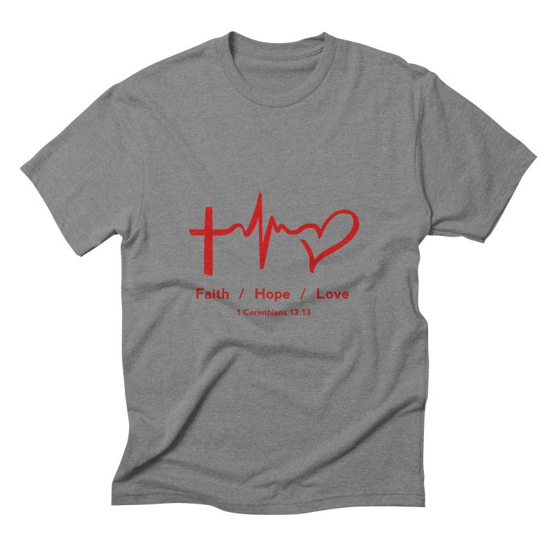 Faith, Hope, Love - Red Men's T-Shirt by Light of the World Tees