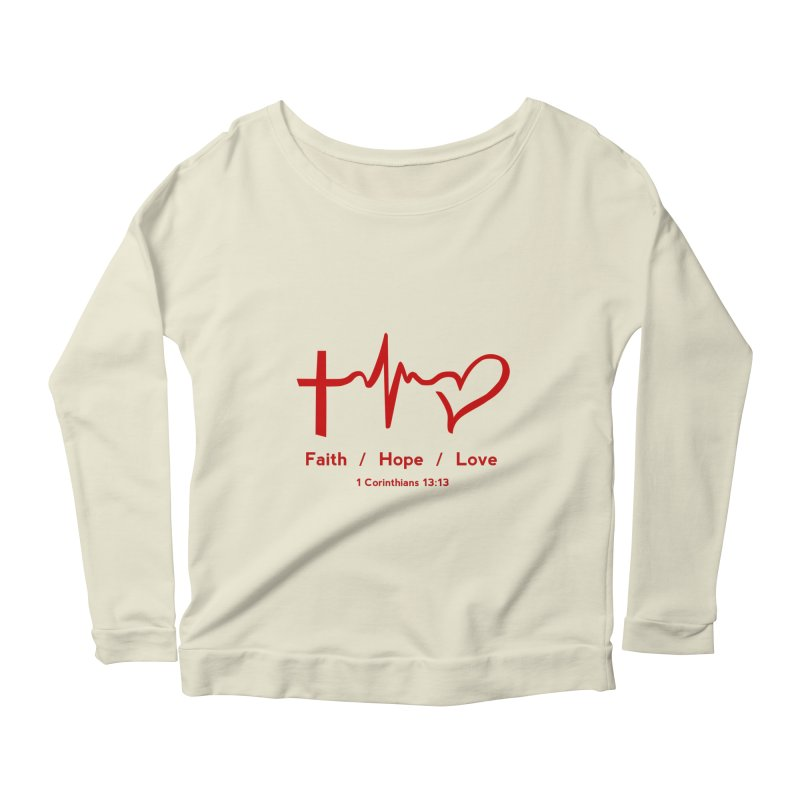 Faith, Hope, Love - Red Women's Scoop Neck Longsleeve T-Shirt by Light of the World Tees