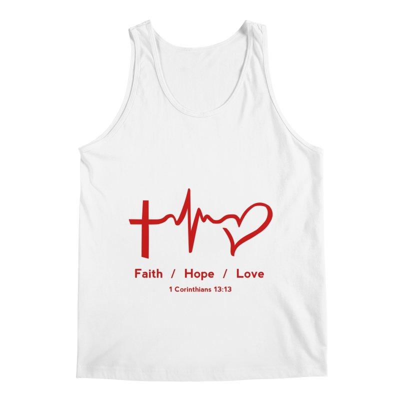 Faith, Hope, Love - Red Men's Regular Tank by Light of the World Tees