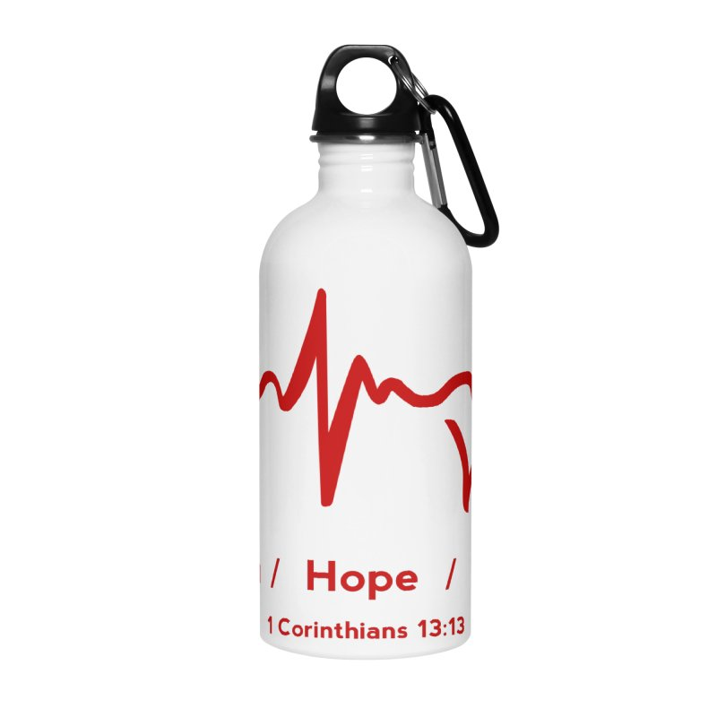 Faith, Hope, Love - Red Accessories Water Bottle by Light of the World Tees
