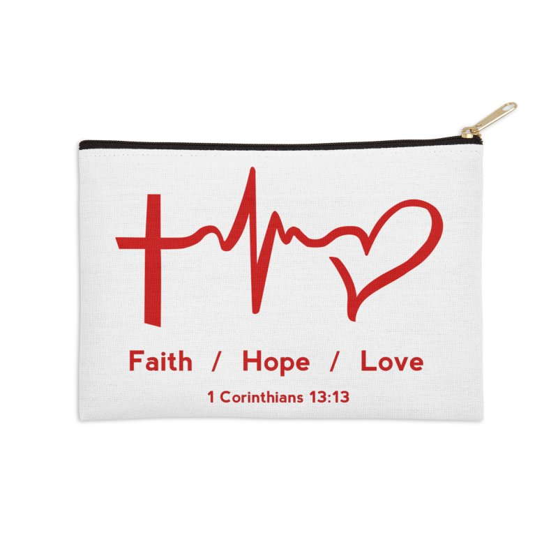 Faith, Hope, Love - Red Accessories Zip Pouch by Light of the World Tees