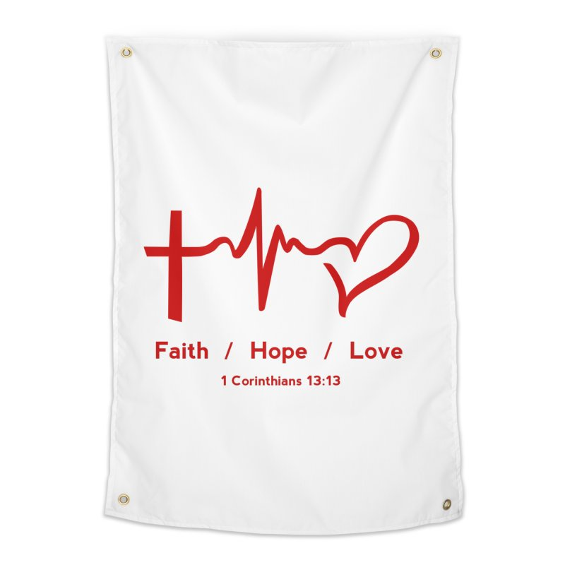 Faith, Hope, Love - Red Home Tapestry by Light of the World Tees
