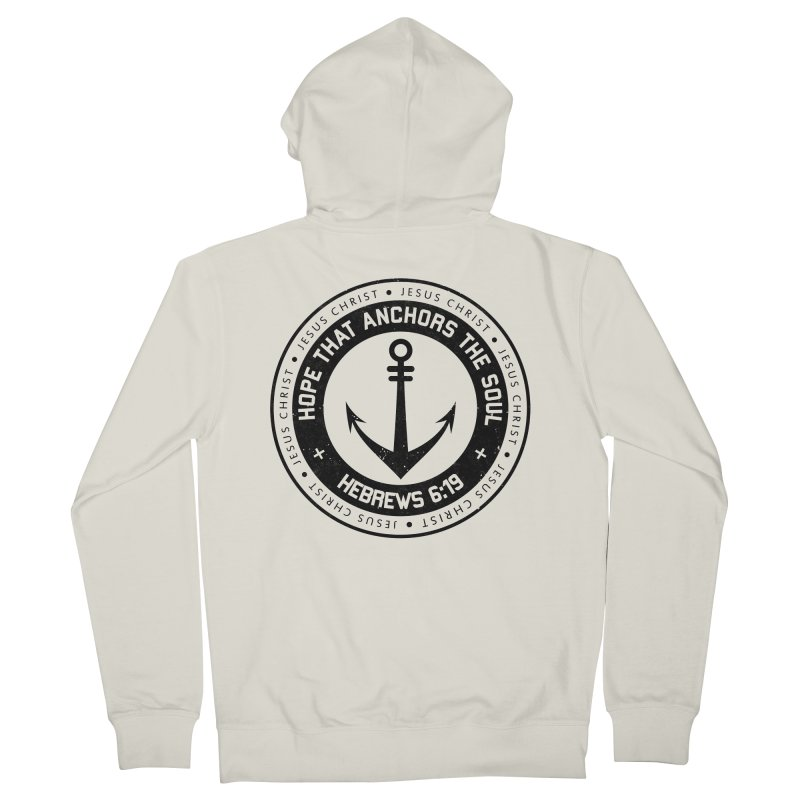Hebrews 6:19 - Black Men's French Terry Zip-Up Hoody by Light of the World Tees