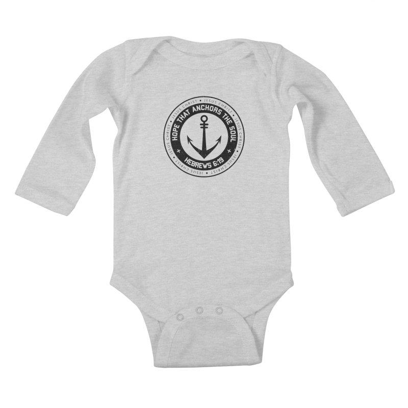 Hebrews 6:19 - Black Kids Baby Longsleeve Bodysuit by Light of the World Tees