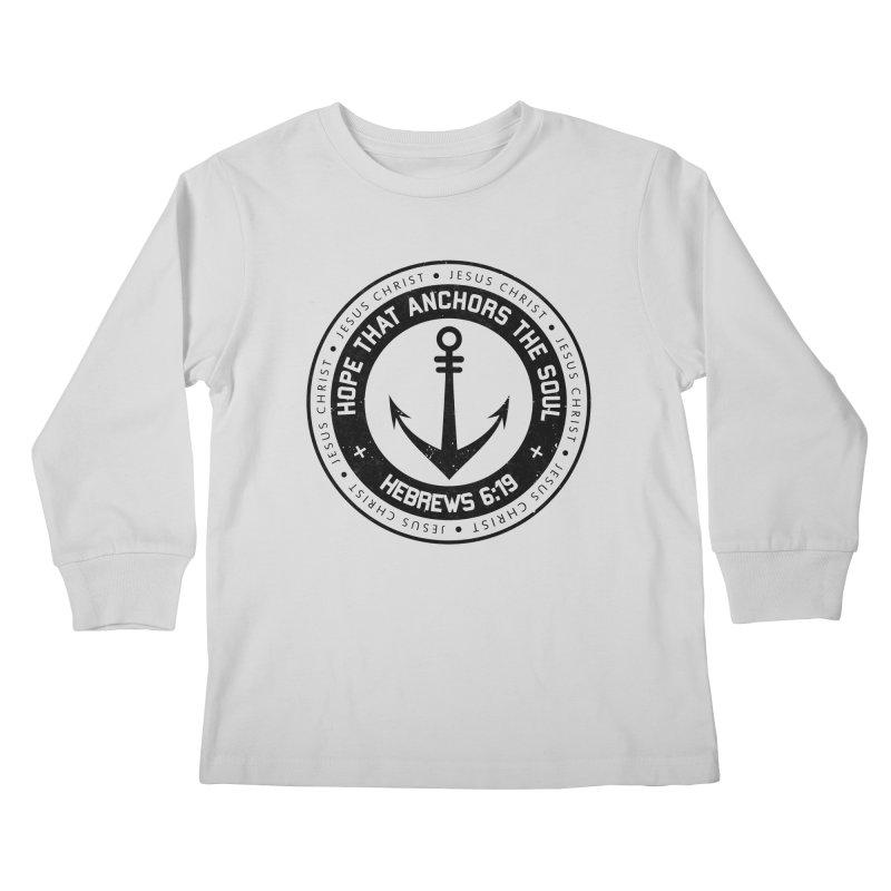 Hebrews 6:19 - Black Kids Longsleeve T-Shirt by Light of the World Tees
