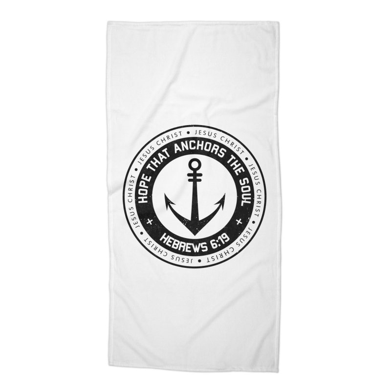 Hebrews 6:19 - Black Accessories Beach Towel by Light of the World Tees