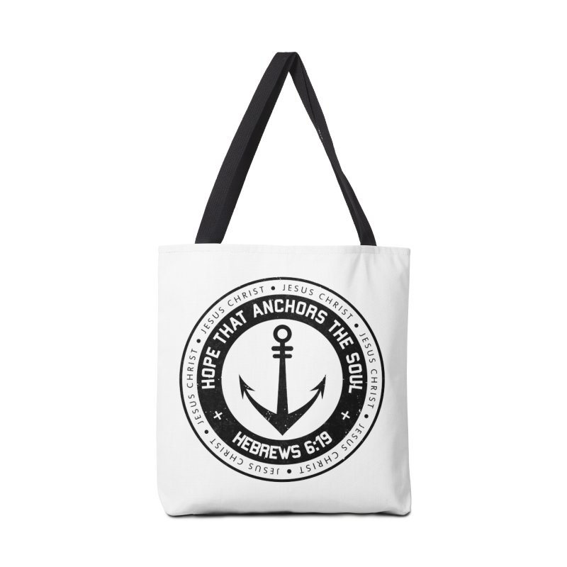 Hebrews 6:19 - Black Accessories Tote Bag Bag by Light of the World Tees