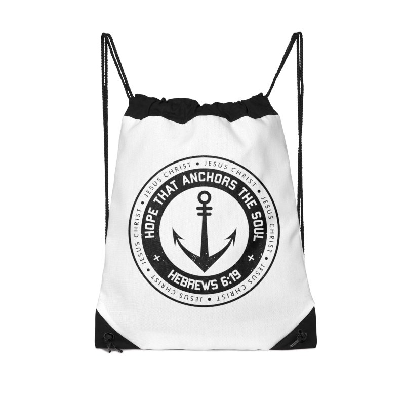 Hebrews 6:19 - Black Accessories Drawstring Bag Bag by Light of the World Tees