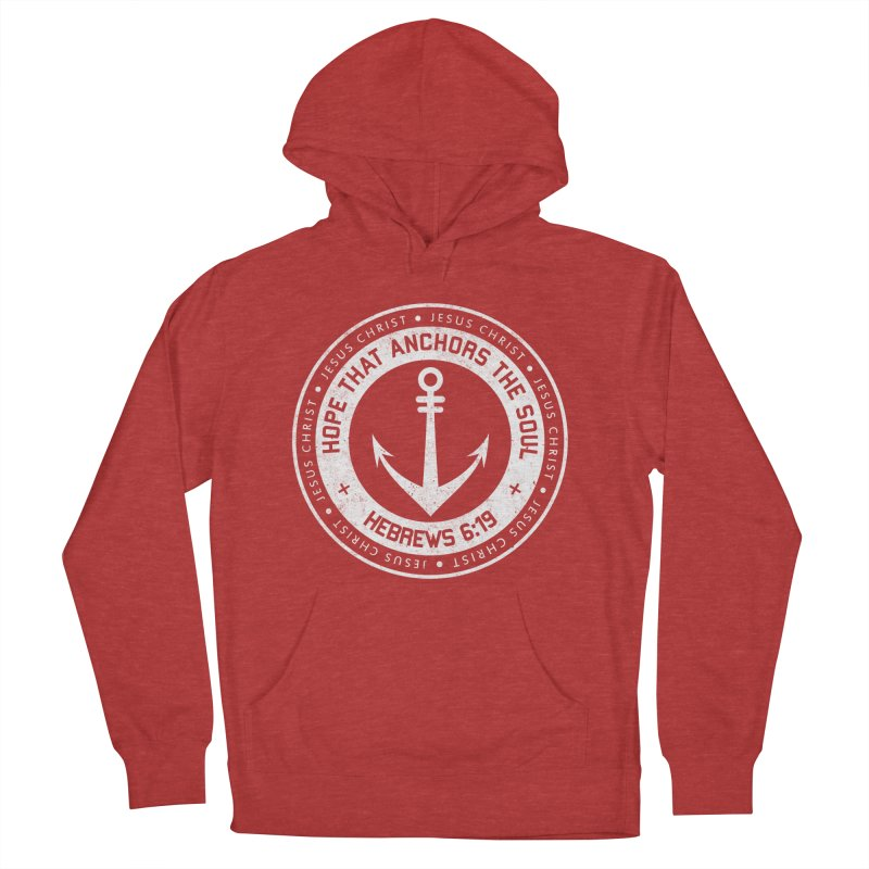 Hope Anchors the Soul - White Men's French Terry Pullover Hoody by Light of the World Tees