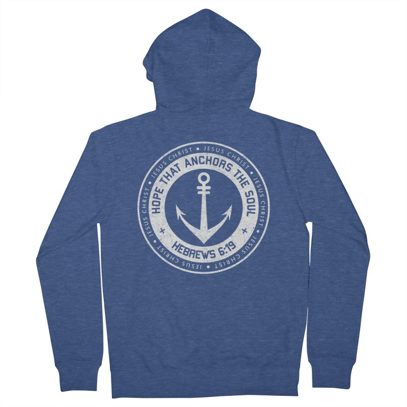 Hope Anchors the Soul - White Women's French Terry Zip-Up Hoody by Light of the World Tees