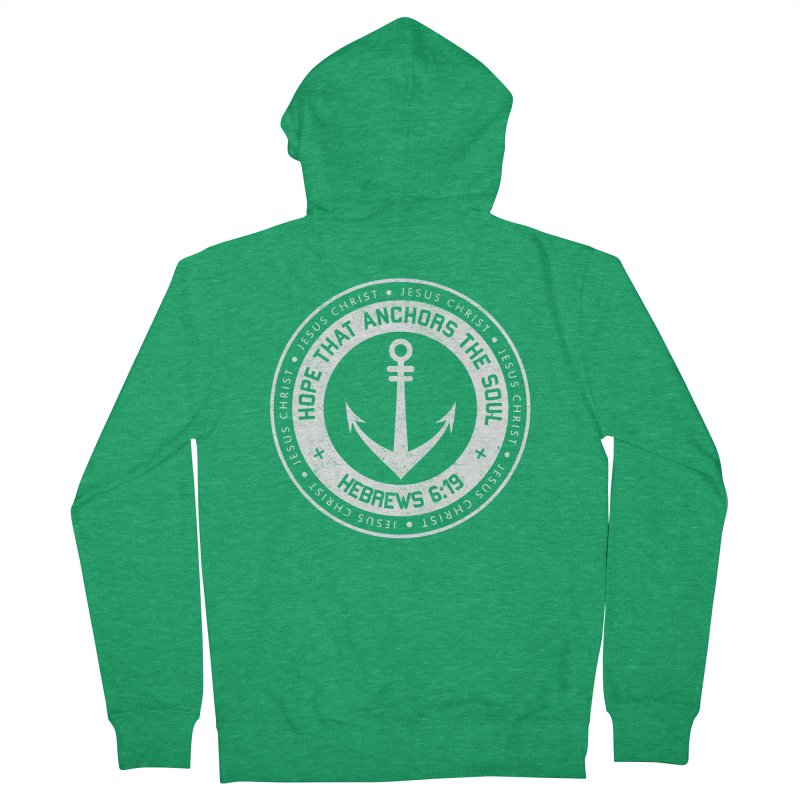 Hope Anchors the Soul - White Men's Zip-Up Hoody by Light of the World Tees