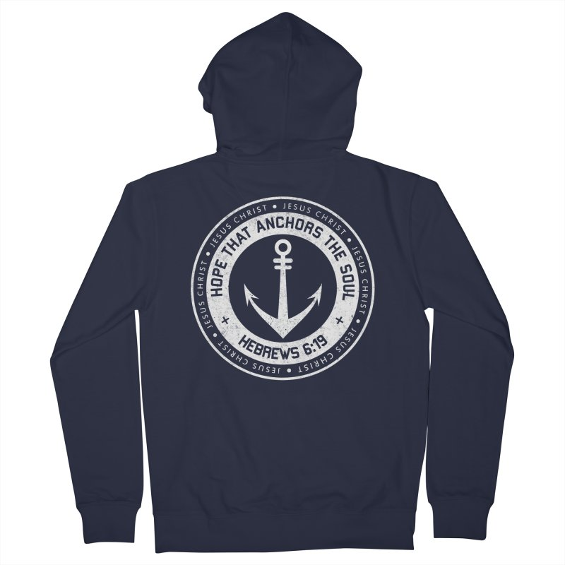Hope Anchors the Soul - White Men's French Terry Zip-Up Hoody by Light of the World Tees